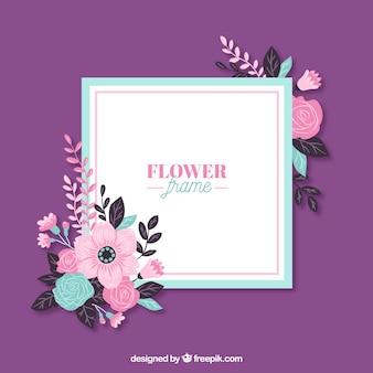 Cadre floral avec des fleurs modernes