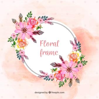 Cadre floral avec des fleurs peintes à la main