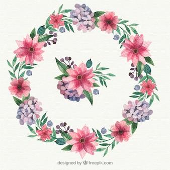 Cadre floral circulaire avec un style charmant