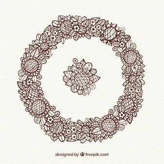 Cadre floral dessiné à la main avec style rétro