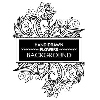 Cadre floral dessiné à la main noir et blanc