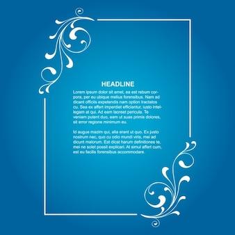 Cadre floral élégant sur fond bleu
