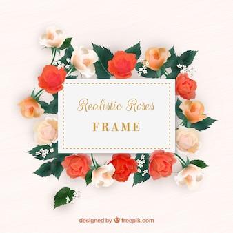 Cadre floral en design réaliste
