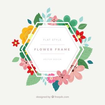 Cadre floral hexagonal