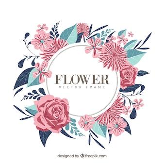 Cadre floral moderne avec une variété de fleurs