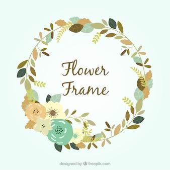Cadre floral plat avec design circulaire