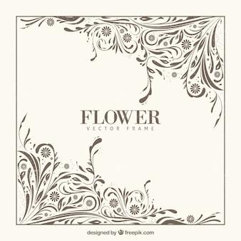 Cadre floral vintage avec style rétro