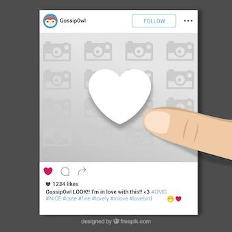Cadre Instagram avec le doigt