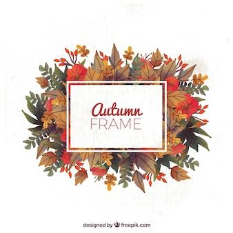 Cadre mignon avec des feuilles d'automne