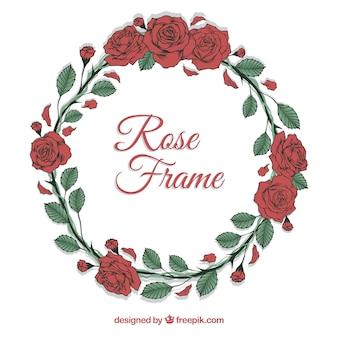 Cadre rond de roses dessinées à la main
