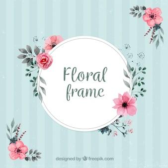 Cadre vintage avec décoration florale