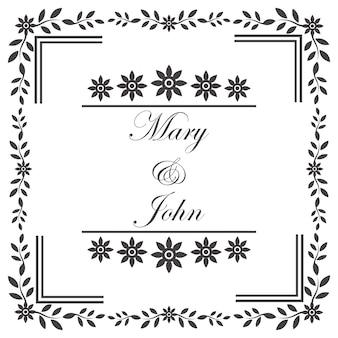 Cadre vintage d'invitation de mariage