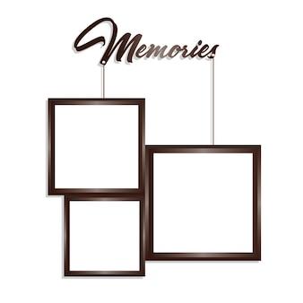Cadres cadres brun et blanc en rectangle suspendu