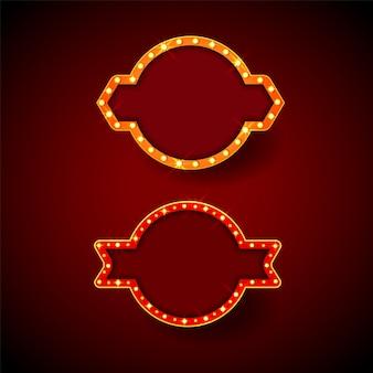 Cadres de chapiteaux rétro avec des ampoules avec espace pour votre texte.