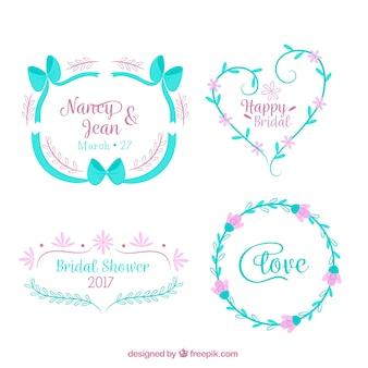 Cadres mariage bleu avec des fleurs roses