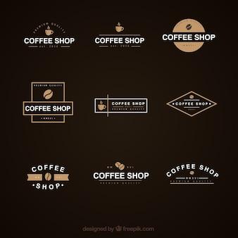 Café élégante collection de logo