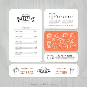 Cafe menu de marque