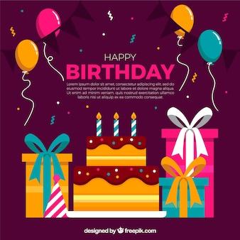 Cake background et cadeaux d'anniversaire en conception plate