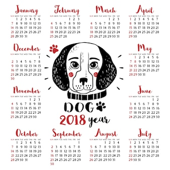 Calendrier 2018 avec chien. nouvel An chinois