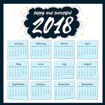 Calendrier 2018 avec des étoiles