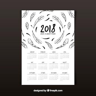 Calendrier 2018 avec des plumes