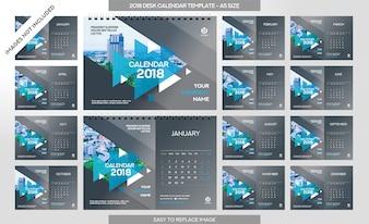 Calendrier de bureau 2018 - 12 mois inclus - Taille A5 - Thème Art Brush