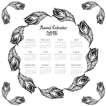 Calendrier de plumes noir et blanc dessiné à la main 2018
