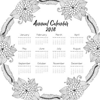 Calendrier des couronnes florales dessinées à la main 2018
