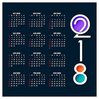 Calendrier pour 2018
