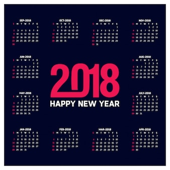 Calendrier simple pour l'année 2018 La semaine commence à partir du dimanche Creative Red 2018 Typographie Fond bleu