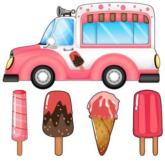 Camion de glace et beaucoup d'illustration de crème glacée