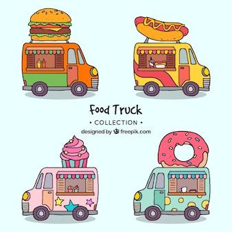 Camions de nourriture dessinés à la main avec un style amusant
