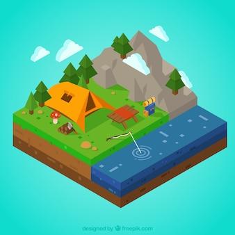 Camping 3D avec des montagnes et des rivières