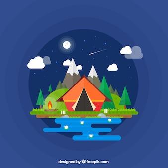 Camping tente dans une nuit merveilleuse