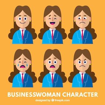 Caractère d'affaires avec la variété des expressions faciales