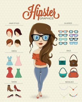 Caractère fille Hipster