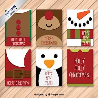 Caractères belle fête de Noël collection de cartes