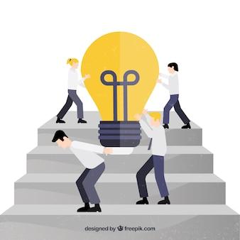 Caractères d'affaires travaillant ensemble
