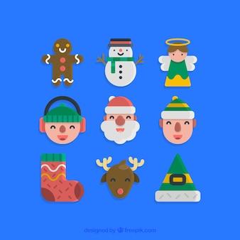 Caractères de Noël d'art Vector Pack