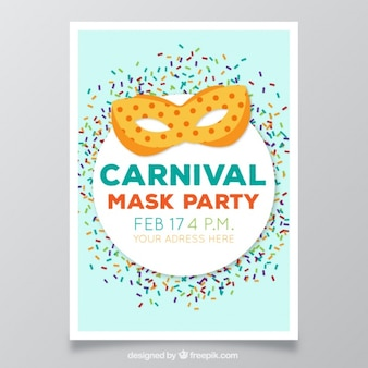 Carnival party flyer avec masque
