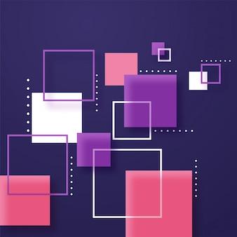 Carrés abstraits de papier coloré sur fond violet.