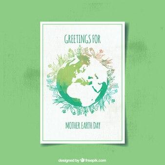 Carte Aquarelle avec décor floral pour le jour de la terre mère