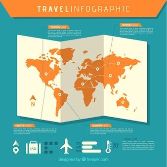 Carte avec éléments de voyage infographique