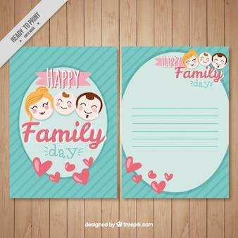 Carte avec les visages de la famille