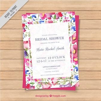 Carte Bachelorette avec des fleurs