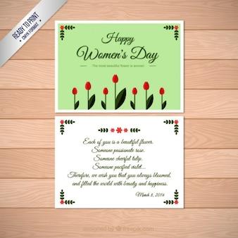 Carte belles femmes de journée avec des fleurs