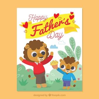Carte colorée avec des lions pour le jour du père