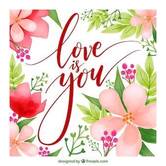Carte d'amour avec des fleurs