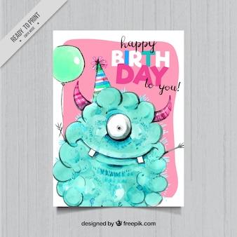 Carte d'anniversaire avec l'aquarelle monstre