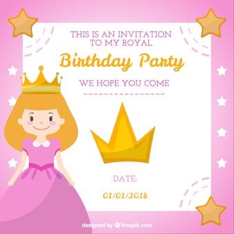 Carte d'anniversaire de style princesse